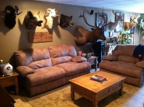 Man Cave Garage Hunting : Outdoorsman man cave of a very successful hunter. full seating