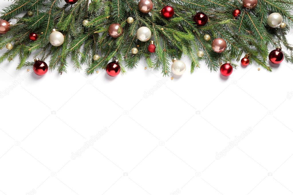 Fir Branches With Christmas Decorations On White Background Flat Lay S Aff Christmas Decorations Fir Bran Christmas Decorations Christmas Flatlay