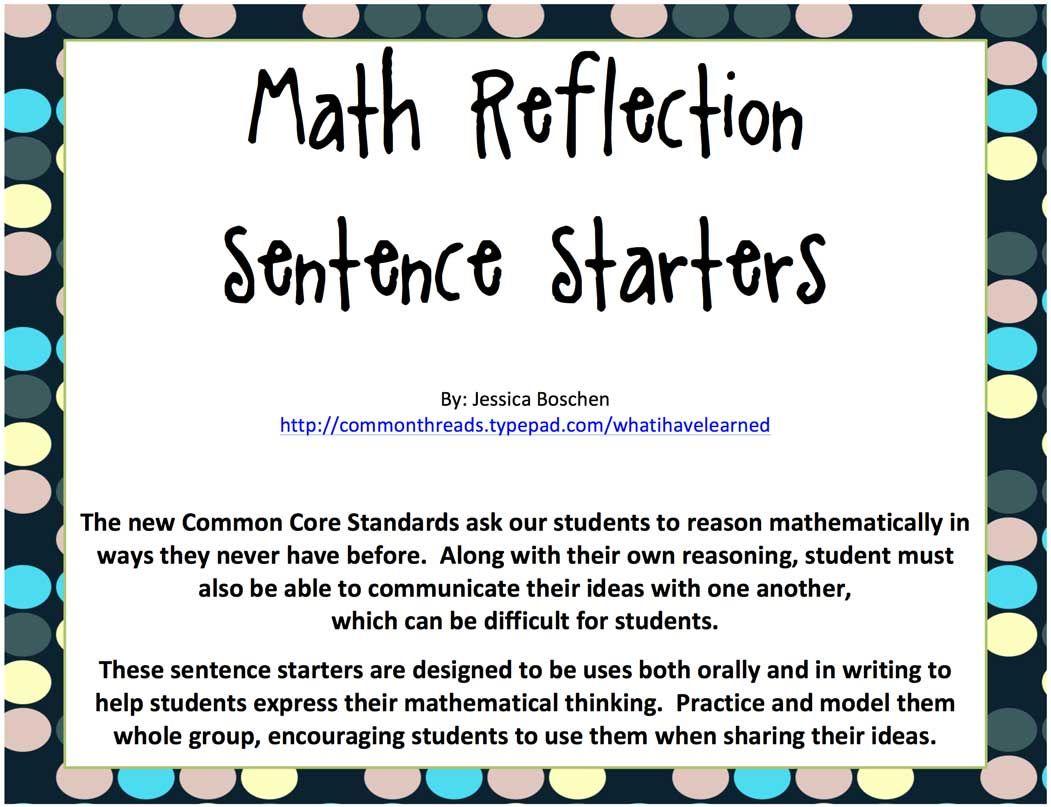 Math Reflection Sentence Starters - Freebie! | Sentences, Math and ...