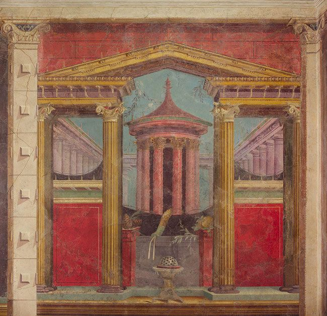Fresco wall painting in a cubiculum (bedroom) from the Villa of P. Fannius Synistor at Boscoreale [Roman] (03.14.13a-g) | Heilbrunn Timeline of Art History | The Metropolitan Museum of Art