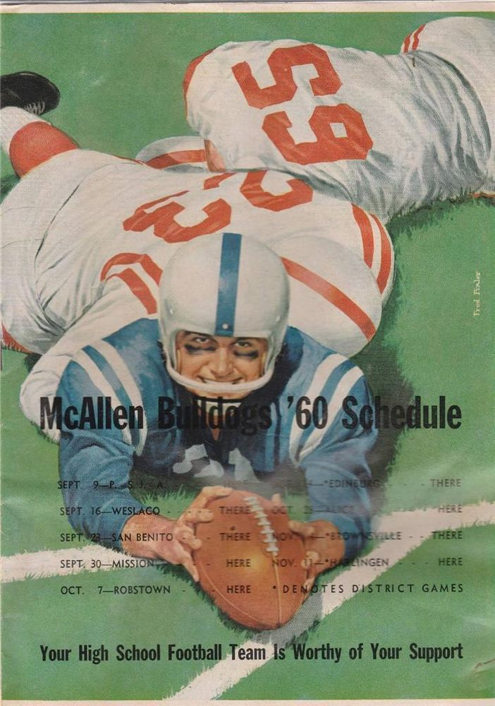 1960 Mcallen Bulldogs H S Football Program Vs Harlingen Cardinals
