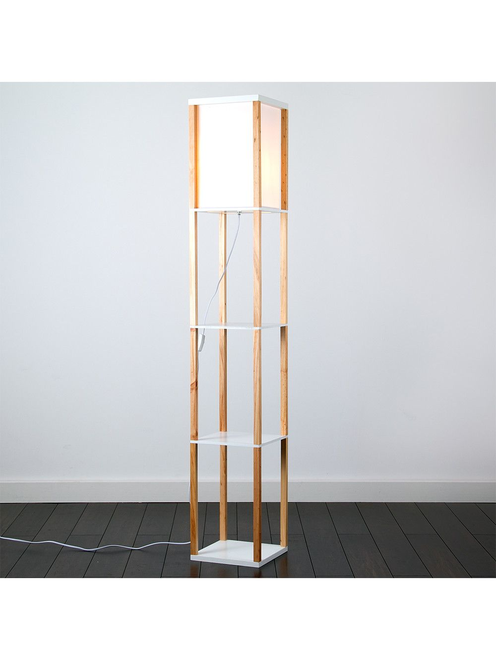 Wooden Shelving Unit Floor Lamp With Fabric Shade