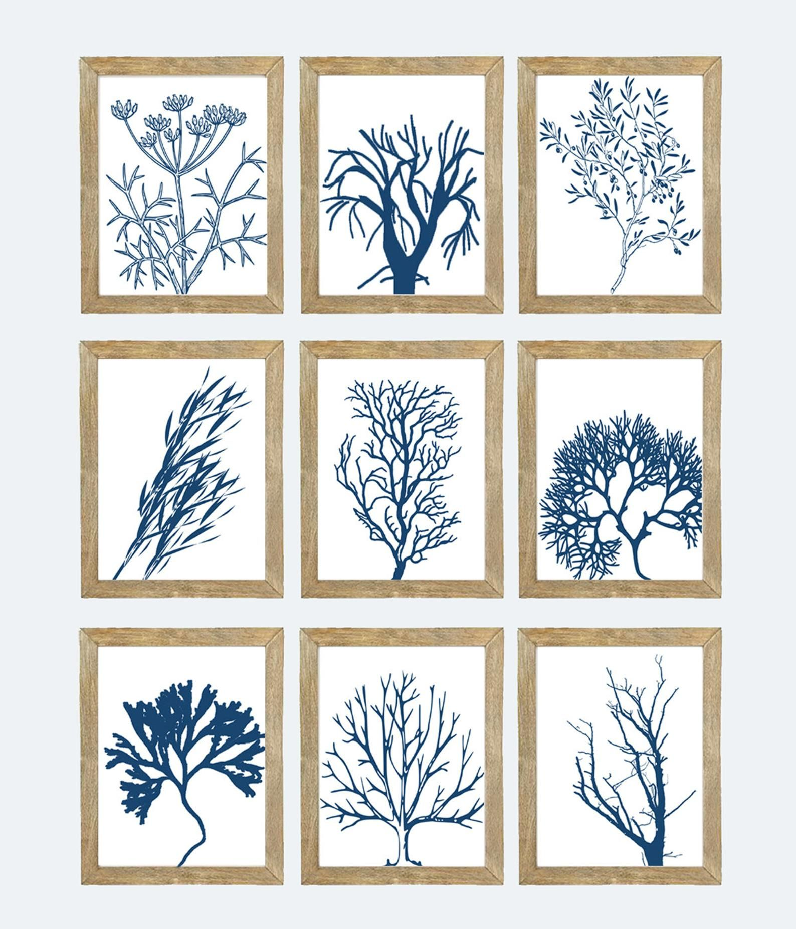 Blue And White Sea Coral Art Printables Instant Download Etsy In 2020 Coral Art Coral Wall Art Printable Art