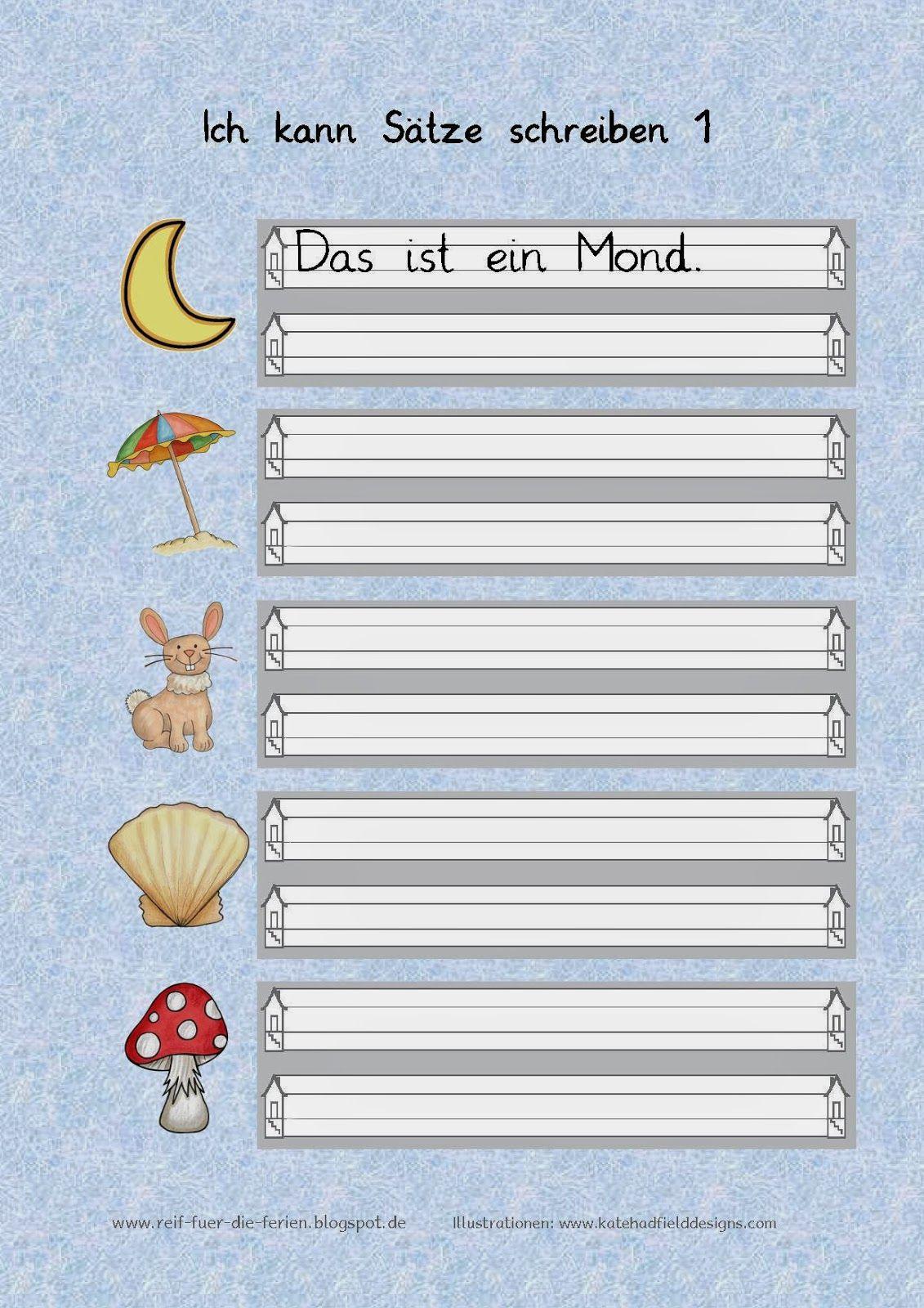 Reif für die Ferien: Ich kann Sätze schreiben - Arbeitsblatt 1-3 ...