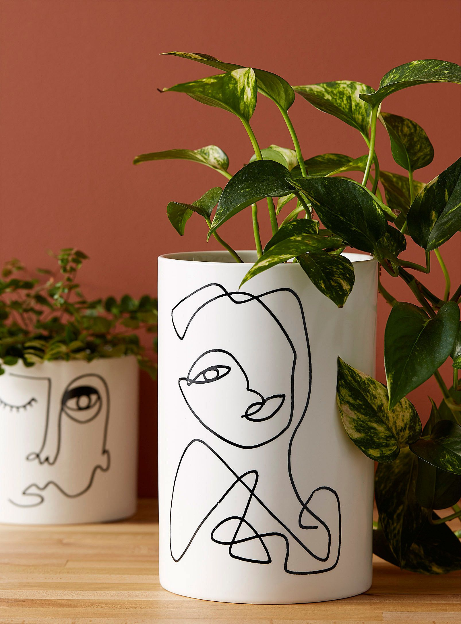 A porcelain planter that has a cubist-inspired face on it in abstract vector art. I know it's a technically a planter, but I would use it to store my makeup brushes any day.