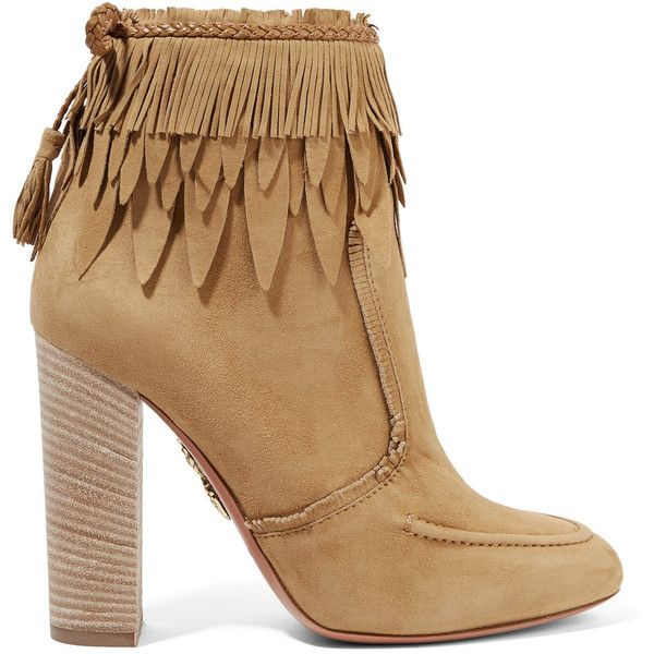 Aquazzura Tiger Lily leather-trimmed fringed suede ankle boots (31.525 RUB)  ❤ liked