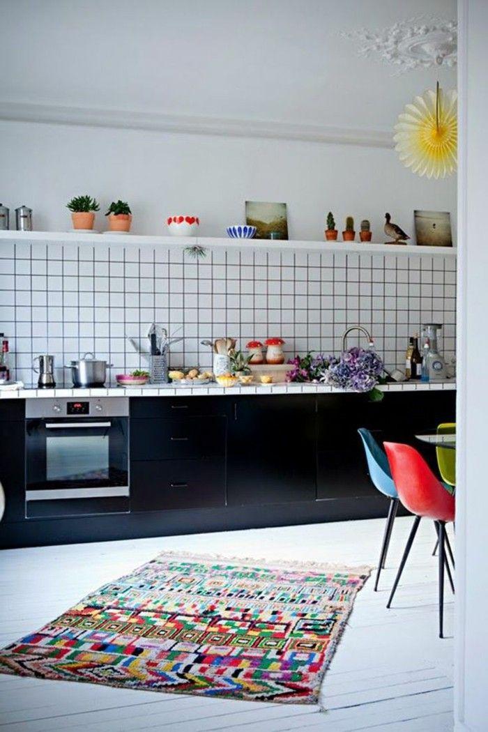 wohnideen küche minimalistische küche farbige akzente schwarze, Hause deko