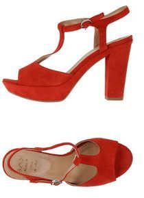$82, Red Suede Heeled Sandals: Sax Sandals. Sold by yoox.com. Click for more info: https://lookastic.com/women/shop_items/280365/redirect