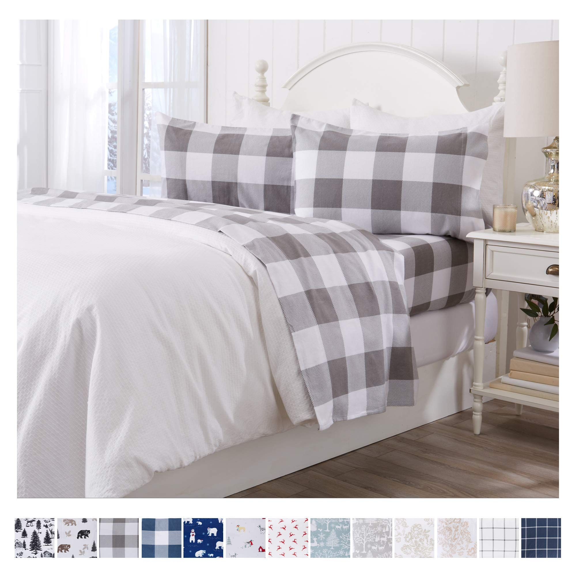 Extra Soft Buffalo Check 100 Tur White Bed Frame Flannel Bed Sheets Bed Sheet Sets