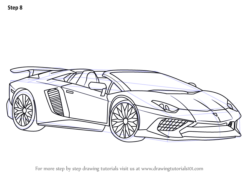 Learn How To Draw Lamborghini Aventador Lp750 4 Sv Roadster Sports Cars Step By Step Drawing Tutorials Lamborghini Aventador Lamborghini Car Drawings