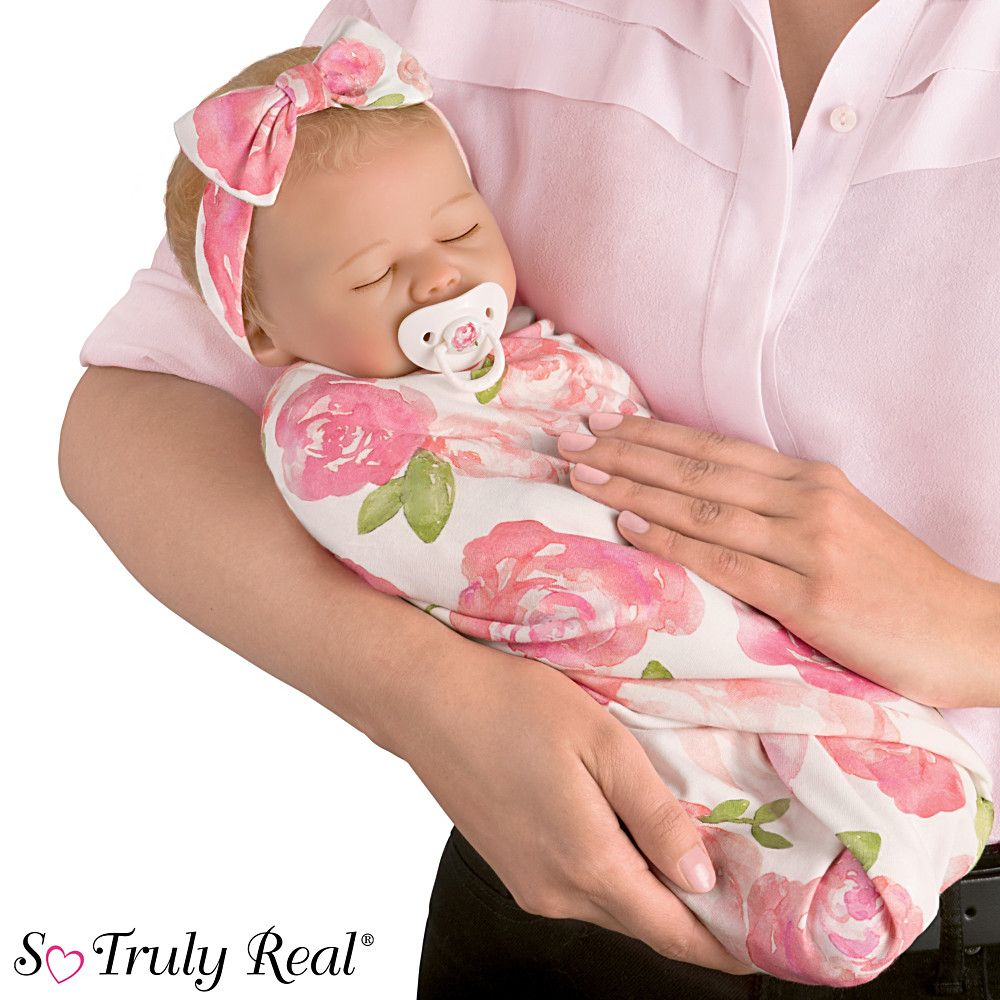 302924001 Marissa May Rosie Baby Doll With Custom Swaddle B Baby Dolls Baby Doll Accessories Silicone Baby Dolls
