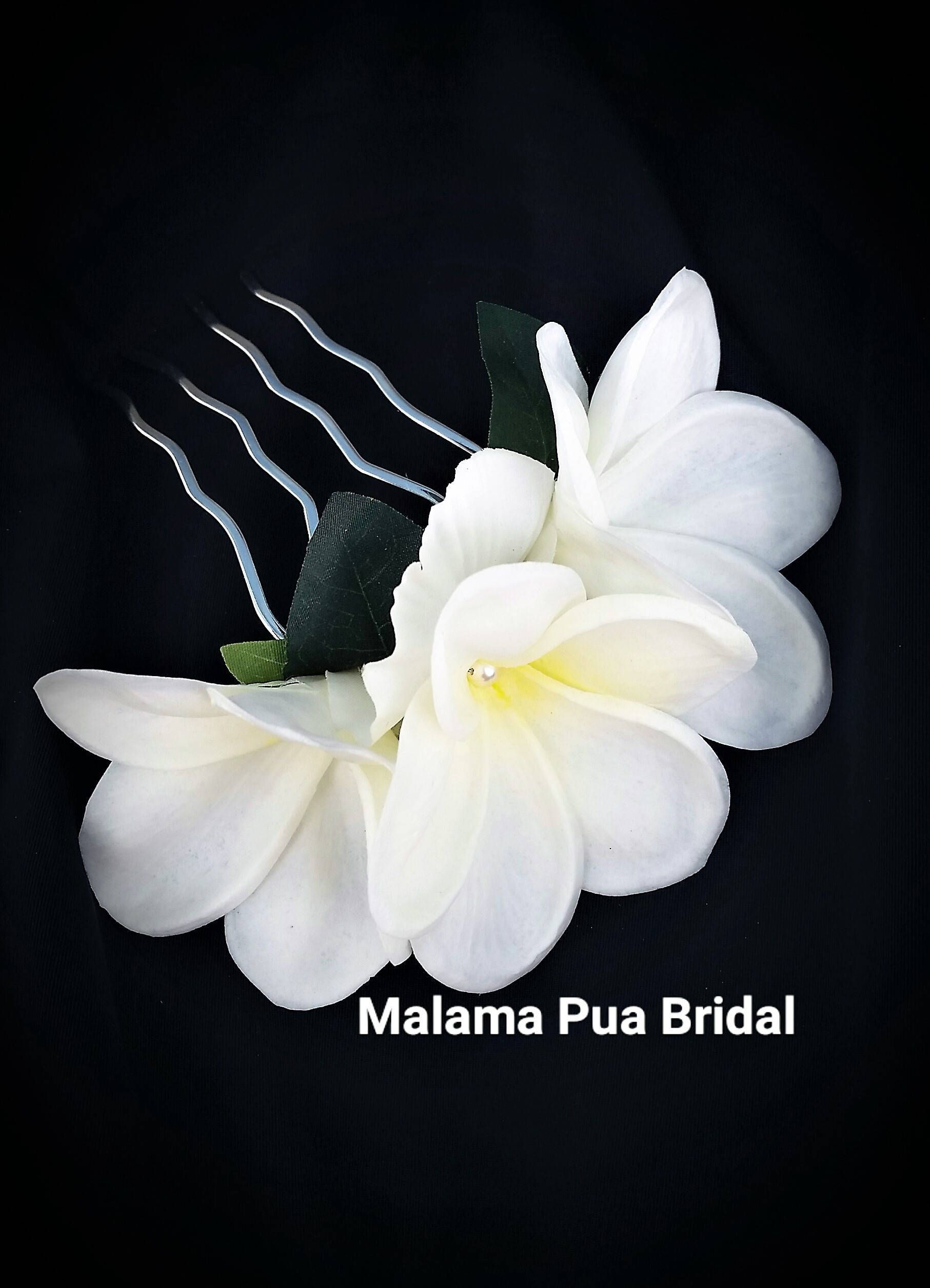 Tropical Plumeria Hair Comb Custom Bridal Hairpiece Hawaiian Floral Hair Accessory Real Touch Flowe Floral Accessories Hair Flowers In Hair Flower Hair Comb