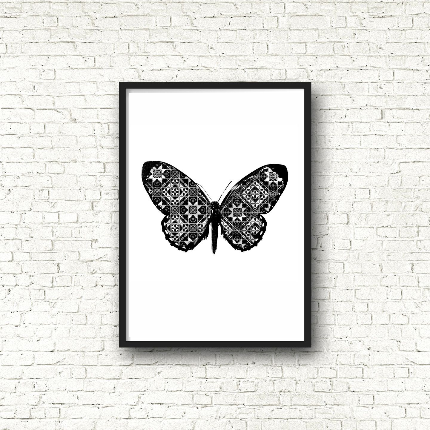 affiche poster noir et blanc graphique papillon format a4 affiches illustrations posters par. Black Bedroom Furniture Sets. Home Design Ideas