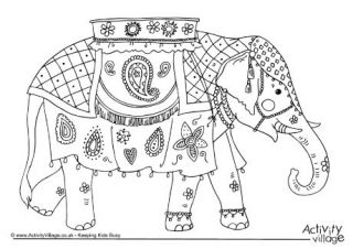 Indian Elephant Colouring Card Elephant Coloring Page Indian Elephant Elephant Crafts