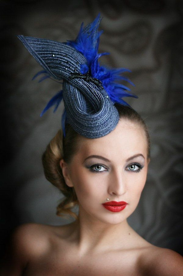Tiny gray-blue hat with feathers  7f388636142
