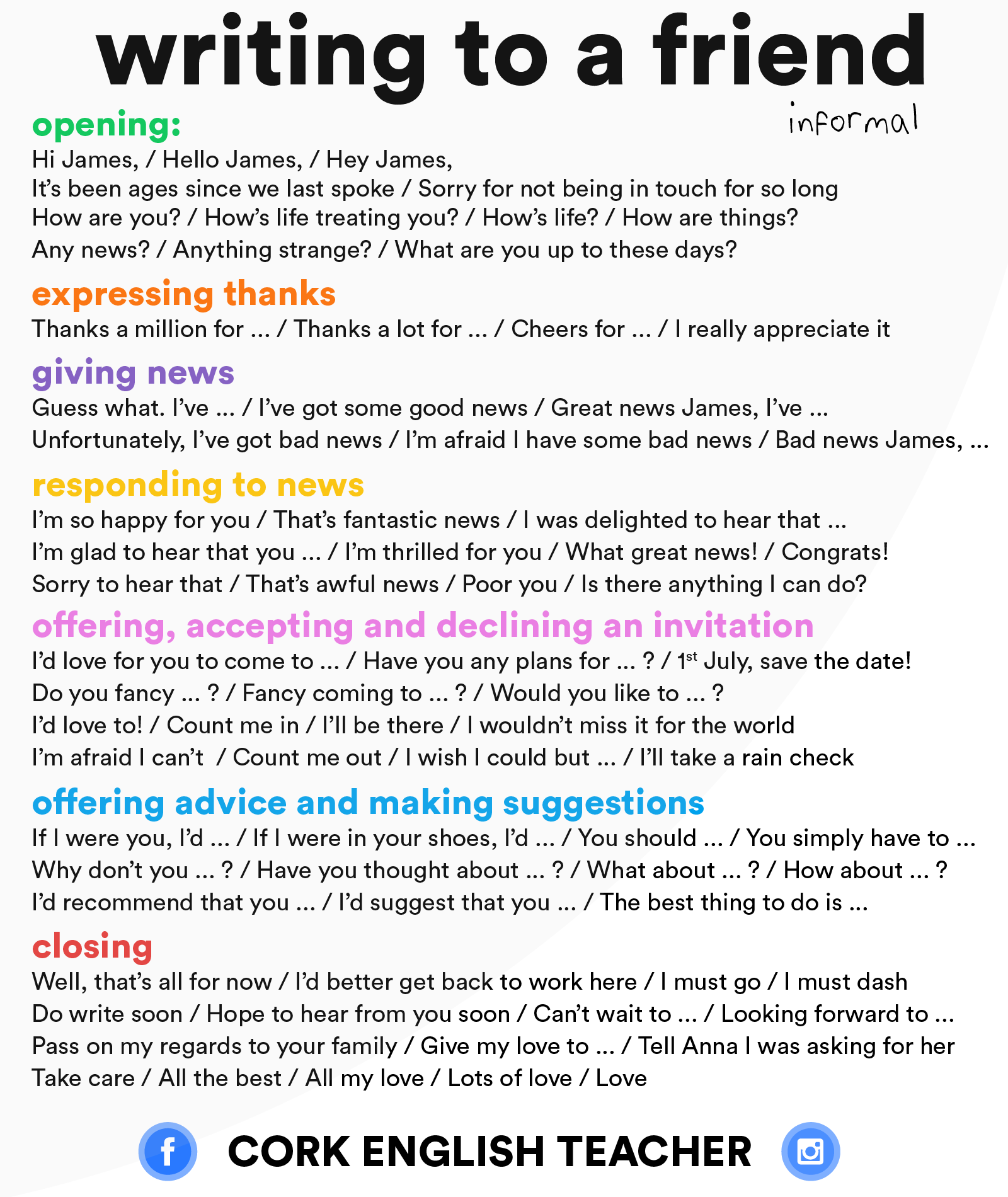 writing to a friend informal learnenglish