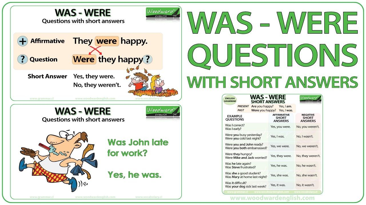 WAS / WERE Questions with Short Answers ESL Video