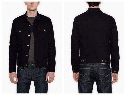 Levis Men 470240020 Black Denim Jean Trucker Jacket Size Large