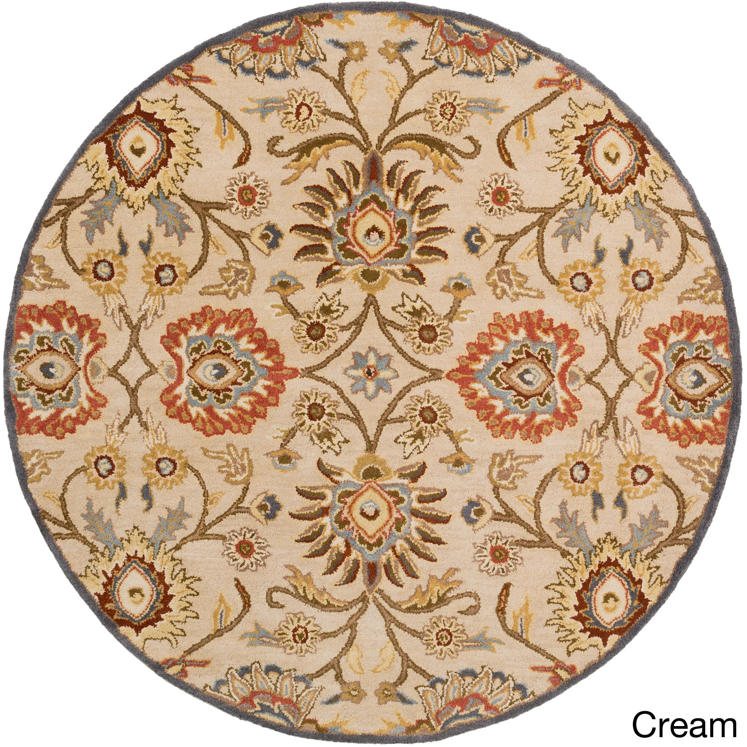 Hand Tufted Wool Rug 4 Round Cream Blue Size 4 Wool Area