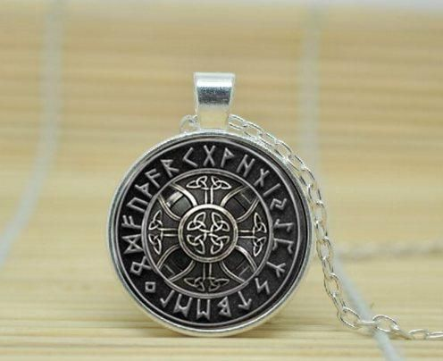 Necklace for Men Norse Viking Cross In Rune Circle Necklace Glass Cabochon Art Picture Pendant Handmade Mens Necklaces Jewelry Gift