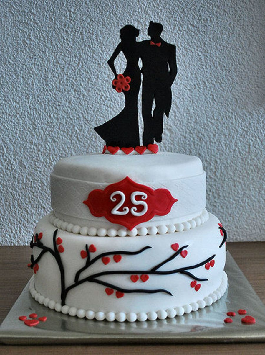 25th Wedding Anniversary Cake With Images 25th Wedding