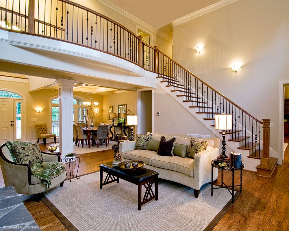 Beautiful stairs and balcony over this open floor plan for Open balcony