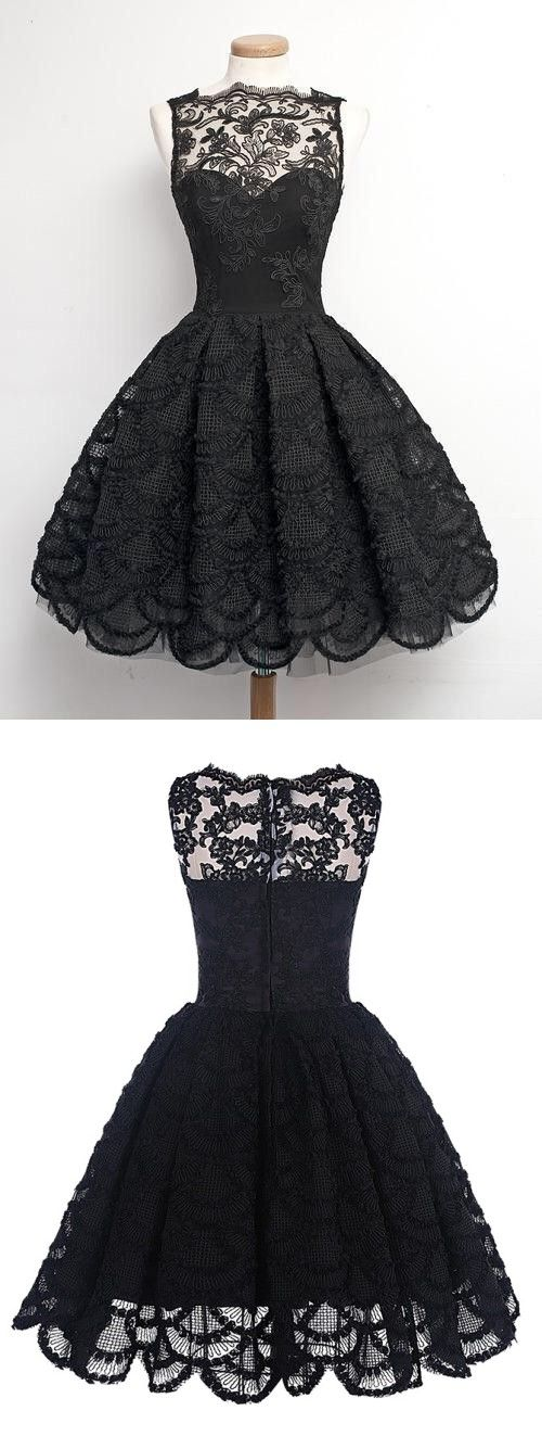 d4f234ba6ff79 Vintage Scalloped-Edge Sleeveless Lace Black Party Prom #Dress With  Appliques. short homecoming dresses ...