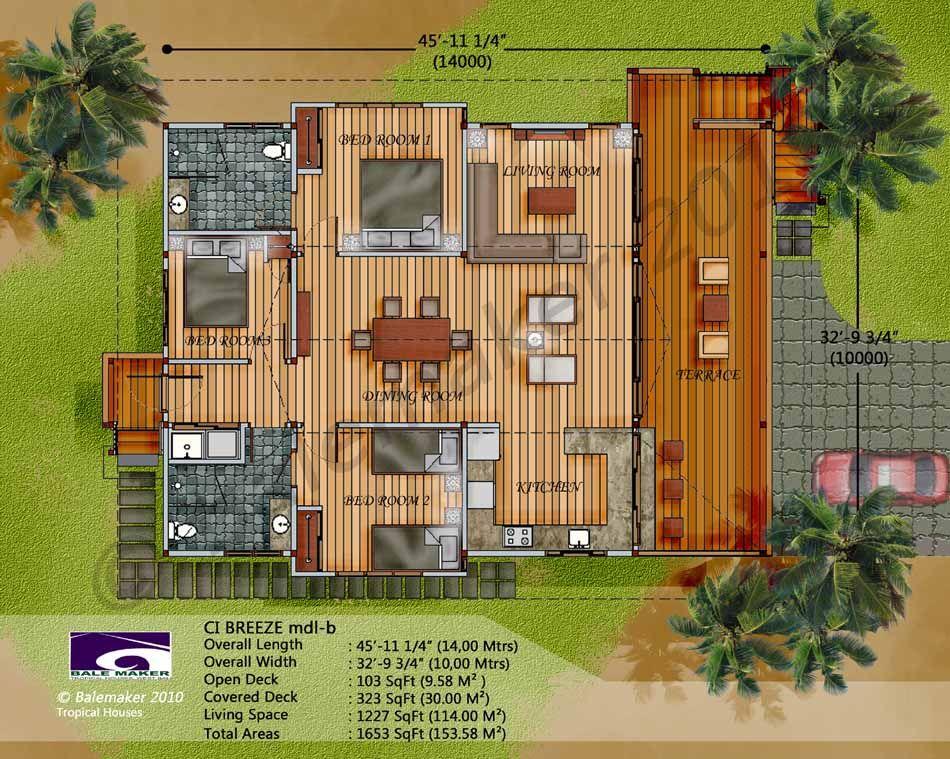 Floor Plan 3 Bedroom Tropical House Design Beach House Flooring Beach House Floor Plans