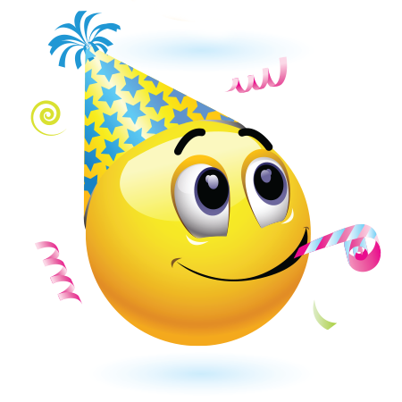 This cheerful emoticon is in a festive mood because it's someone's birthday.