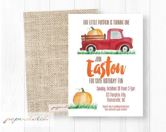 little pumpkin birthday invitation red truck birthday invite