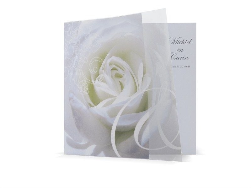 97.1609 Witte trouwkaart met roos, 47.1609 - Trouwkaarten.Familycards.nl