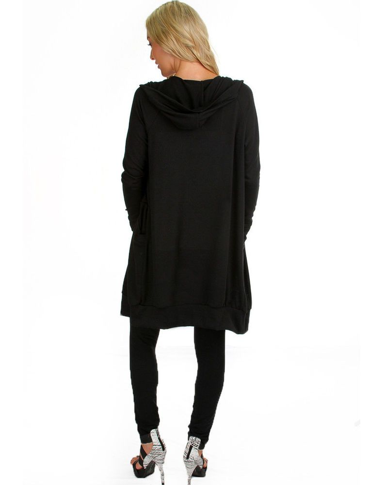 BLACK OPEN FRONT LONG SLEEVE HOODED CARDIGAN SWEATER FITS SMALL ...