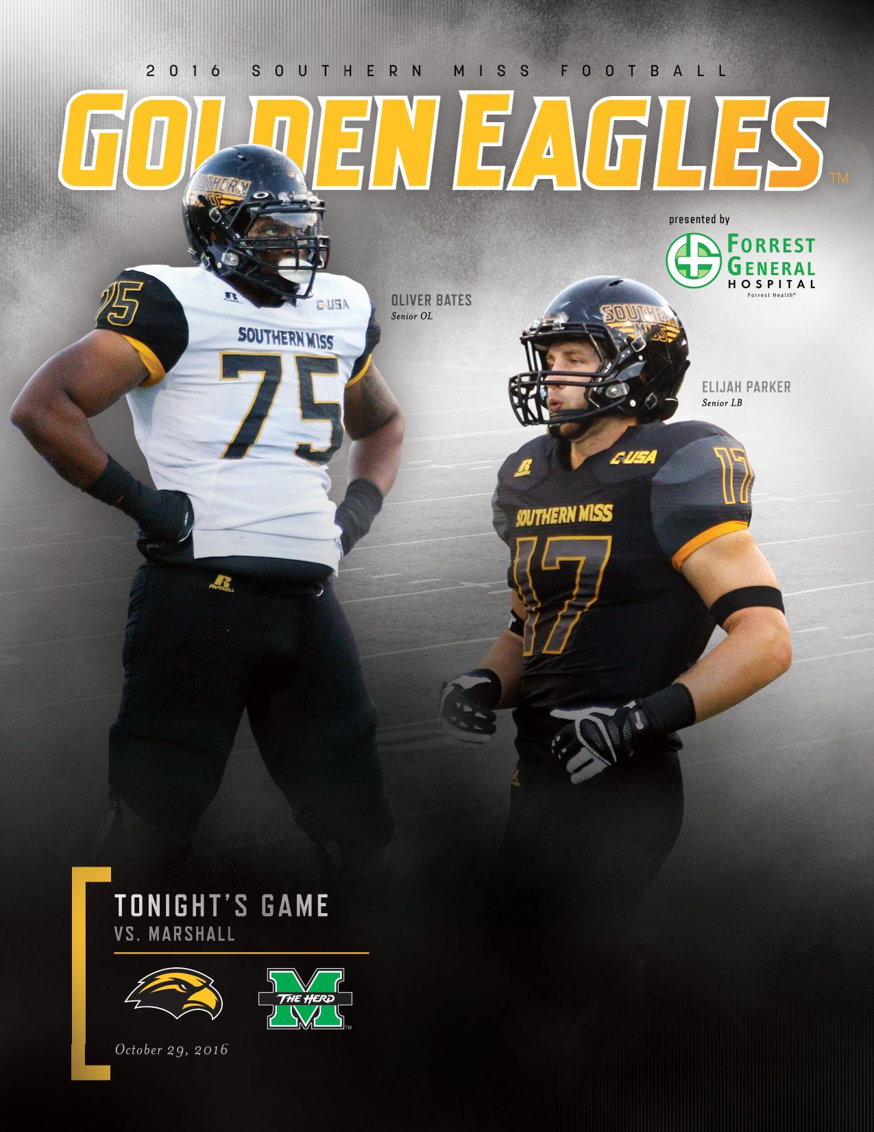 The official roster card for usmgoldeneagles Football vs