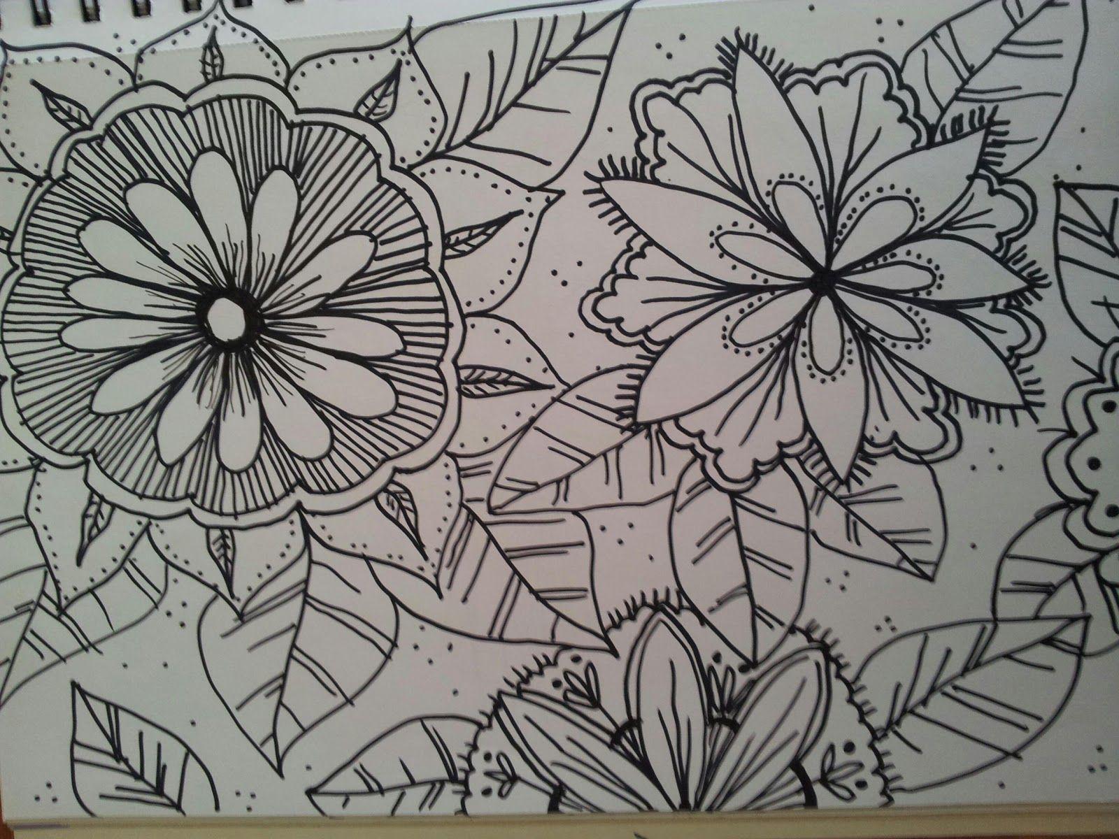 Zen doodle colour - Zen Doodle Designs Of Flowers Colour Same Ideas But This Time With