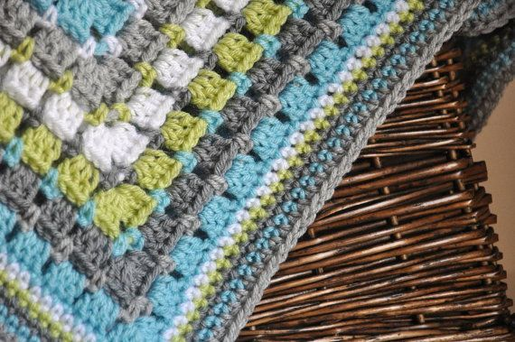 Blue Grey And Lime Green Granny Square Style Baby Blanket
