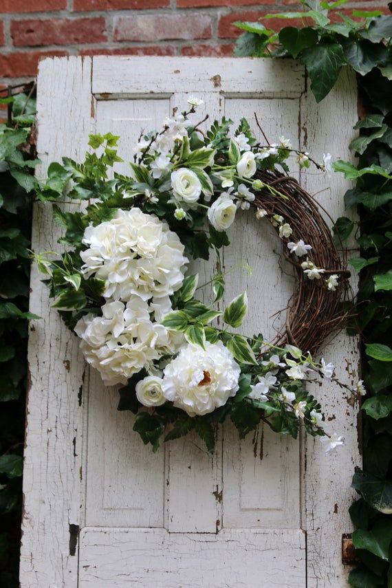 Front Door wreath with Hydrangeas, Year round wreath, Wedding Decor, Bridal Shower wreath, Double Do #doubledoorwreaths