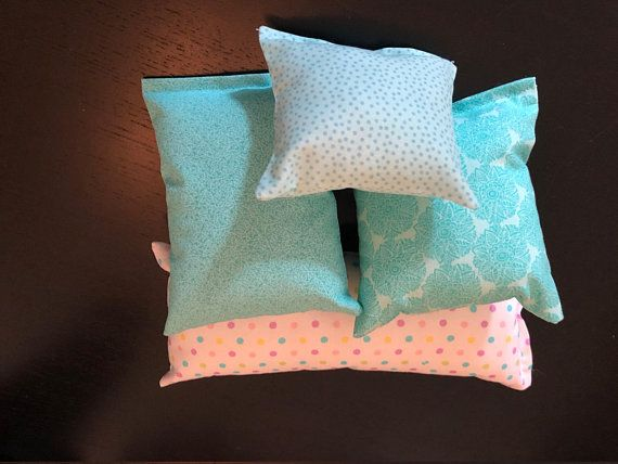 Turquoise And Dots 4 Pc Doll Pillow Set Pillow Set