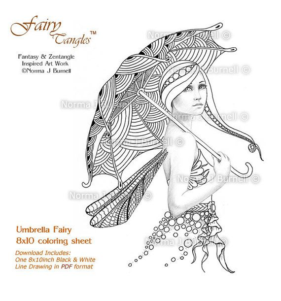 Fairy Tangles Printable Coloring Book Pages Grayscale Coloring