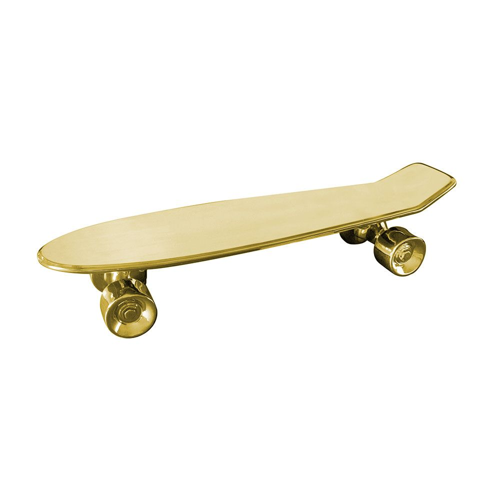 Add fun form and function to your dinner party settings with this My Skateboard tray from Seletti. Crafted from fine porcelain it has a shiny gold coloured finish. A quirky way to display canapés o...