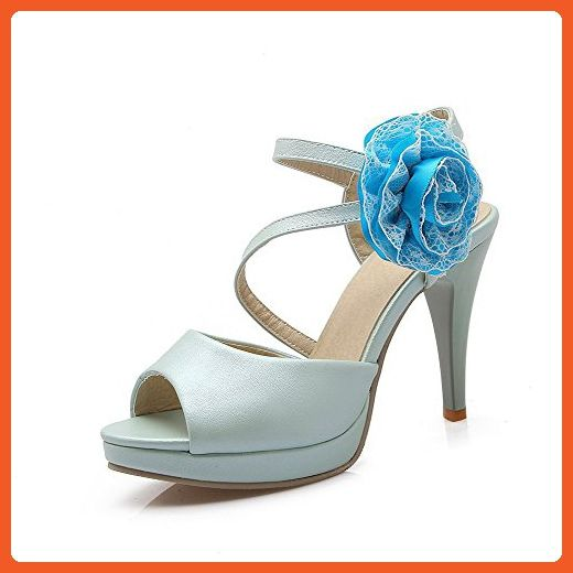 a5a323195f30 VogueZone009 Women s Pull-on Peep Toe High-Heels PU Solid Heeled-Sandals