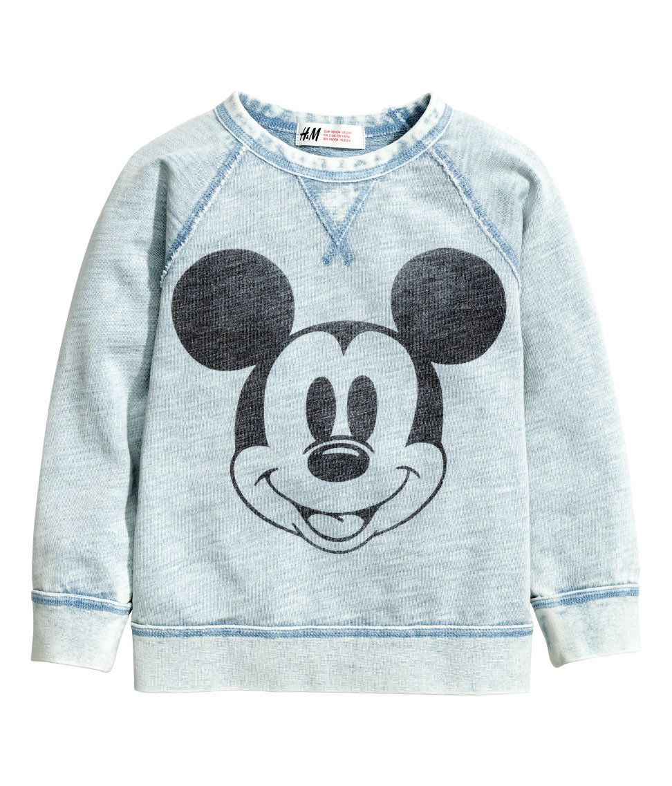937c70097 Sweatshirt with Printed Design | Light blue/Mickey Mouse | Kids | H&M US