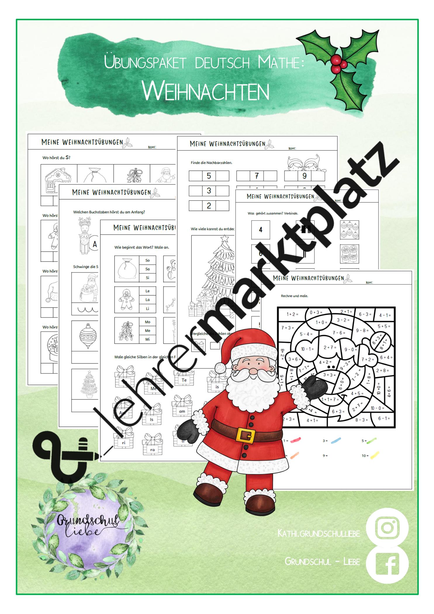 Meine Weihnachtsubungen Deutsch Und Mathematik 1 Klasse Unterrichtsmaterial In Den Fachern Deutsch Fachubergreifendes Mathematik Mathematik Erste Klasse Hausubung