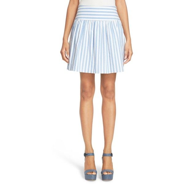 Women's Milly Breton Stripe A-Line Skirt ($153) ❤ liked on Polyvore featuring skirts, blue, white ruffle skirt, white knee length skirt, pleated a line skirt, frilly skirts and knee length a line skirt