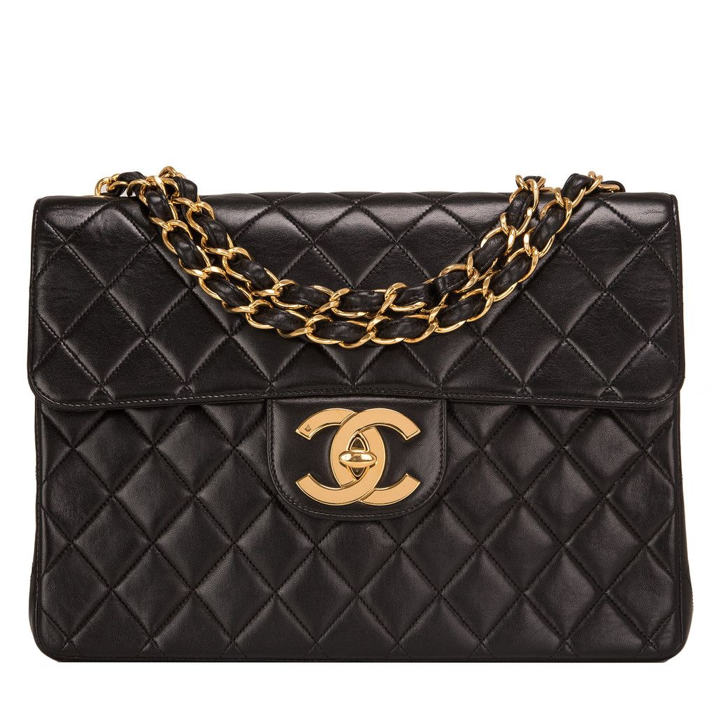 Chanel Vintage Black Quilted Lambskin Jumbo Classic Flap Bag  b5797bda2c7d8