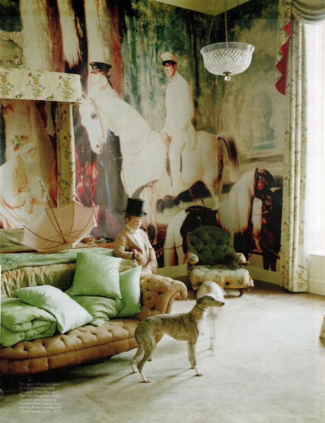 Tim Walker Blow-Up for Magazine 2011. Alfred de Dreuxu0027s Portrait of Monsieur and Madame Mosselman and Their Two Daughters 1848 on the walls of Glemham ... & Tim Walker: Blow-Up for Magazine 2011. Alfred de Dreuxu0027s Portrait ...