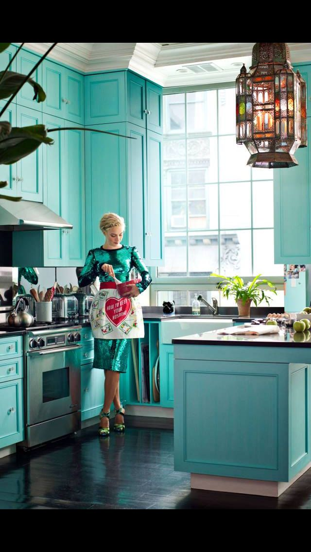 colored kitchen (With images) | Tiffany blue kitchen ...