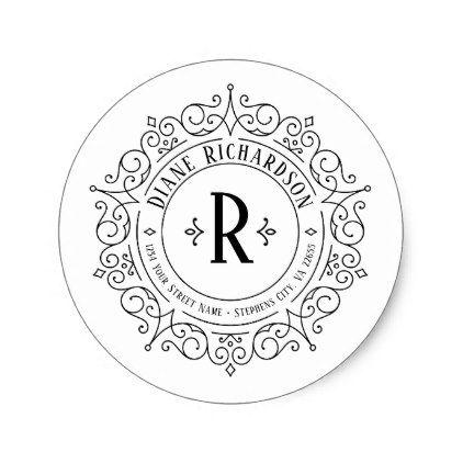 Ornate Vintage Swirls Circular Return Address Classic Round Sticker Zazzle Com Swirls Round Stickers Ornate