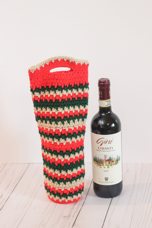 Christmas Wine Gift Crochet Wine Tote Wine Bottle Bag Wine Etsy Wine Christmas Gifts Wine Gifts Christmas Wine