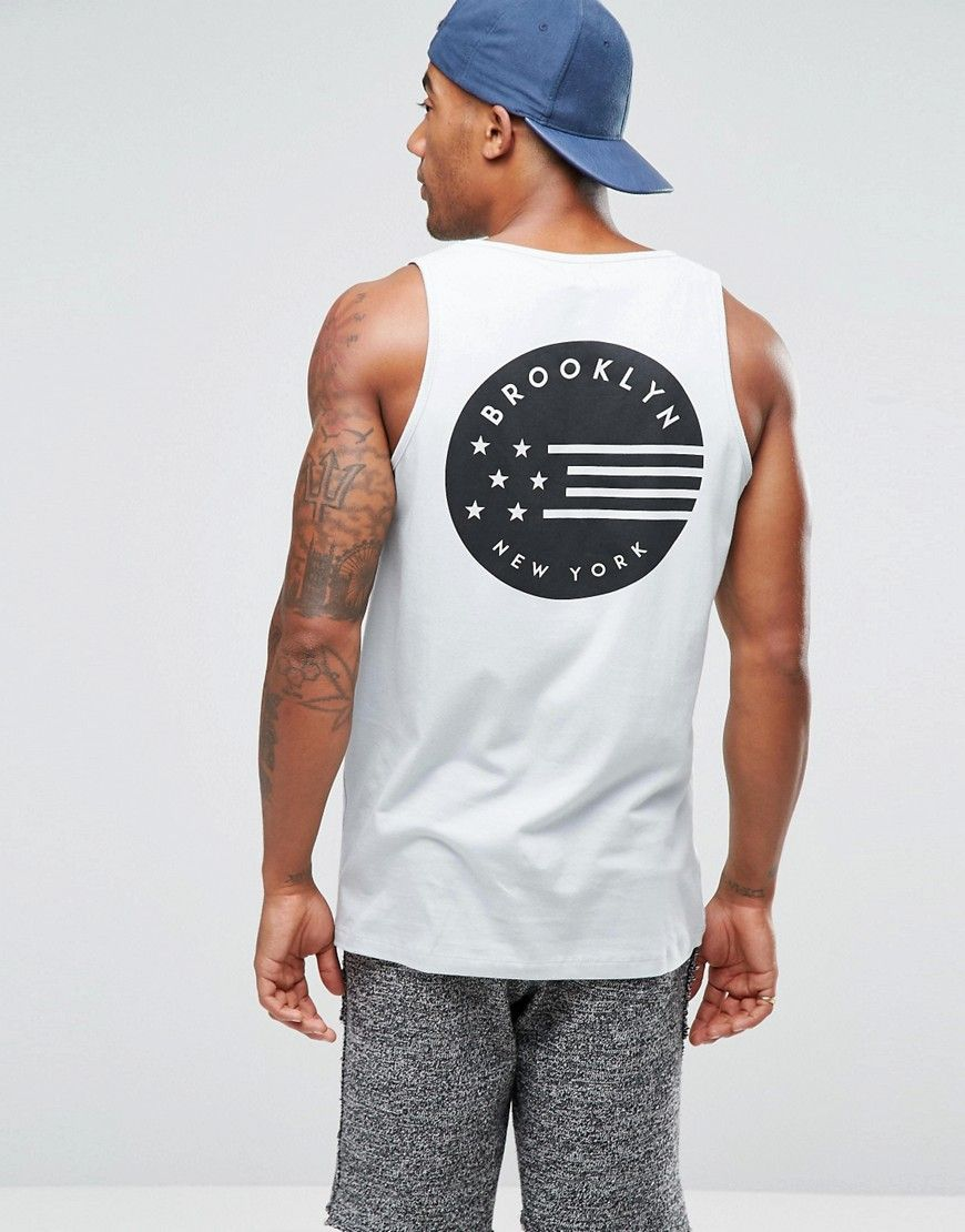 28011b5a694da3 Image 2 of ASOS Longline Sleeveless T-Shirt With Flag Front And Back Print