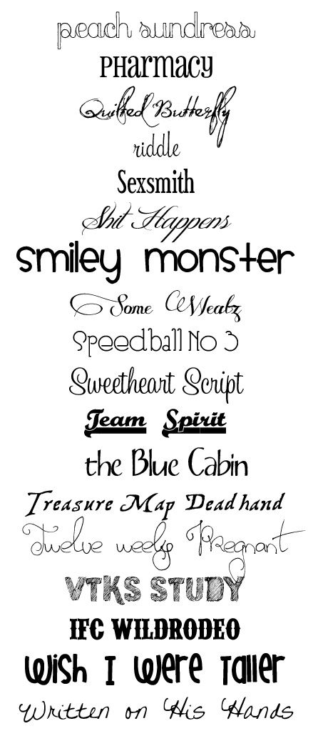 Awesome Font List For Digital Scrapbookers Lettering Fancy Fonts Favorite Fonts